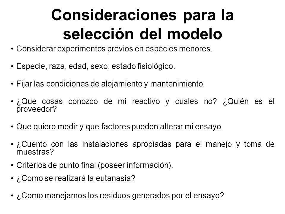 Consideraciones para la selección del modelo