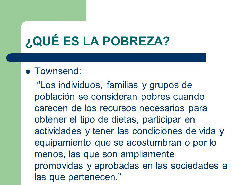 ¿QUÉ ES LA POBREZA Townsend: