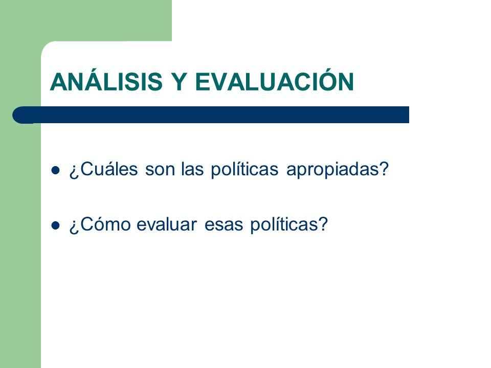ANÁLISIS Y EVALUACIÓN ¿Cuáles son las políticas apropiadas