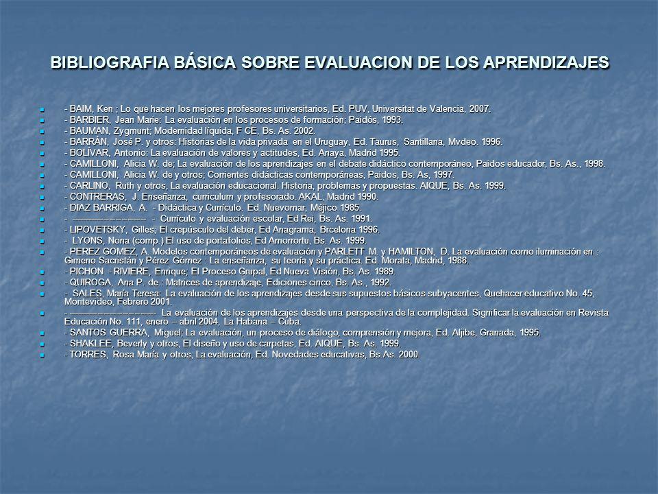 BIBLIOGRAFIA BÁSICA SOBRE EVALUACION DE LOS APRENDIZAJES