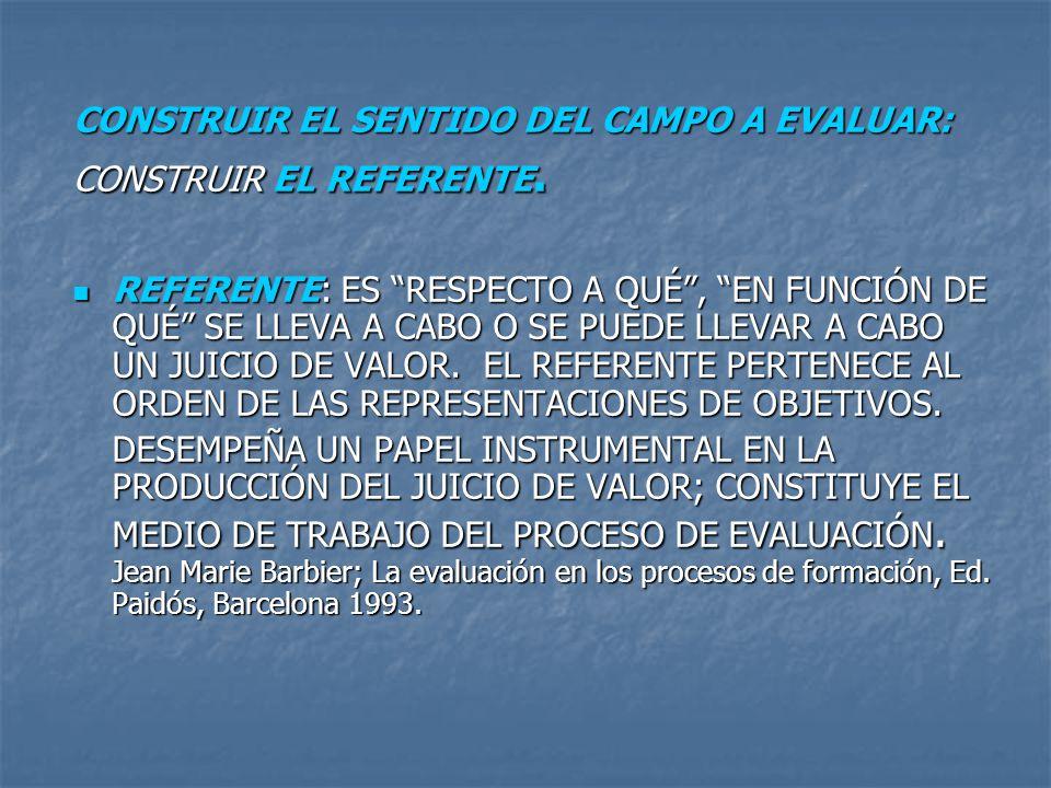 CONSTRUIR EL SENTIDO DEL CAMPO A EVALUAR: CONSTRUIR EL REFERENTE.
