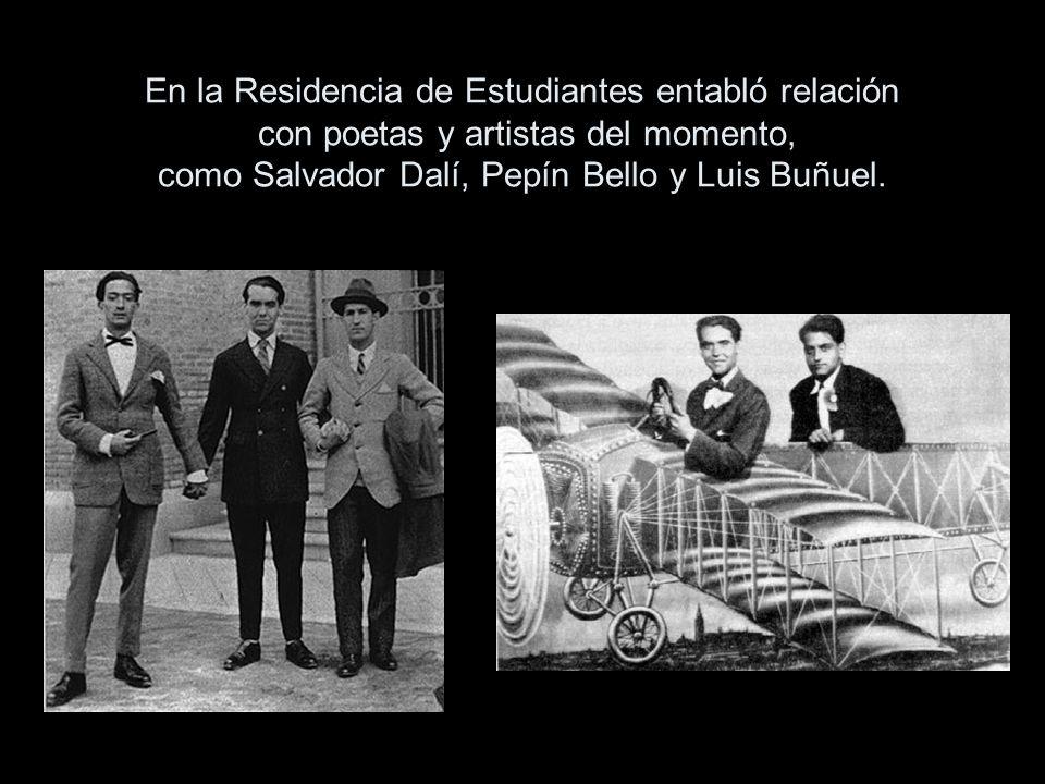 En la Residencia de Estudiantes entabló relación con poetas y artistas del momento, como Salvador Dalí, Pepín Bello y Luis Buñuel.
