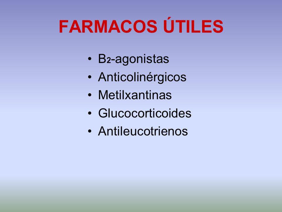 FARMACOS ÚTILES Β2-agonistas Anticolinérgicos Metilxantinas