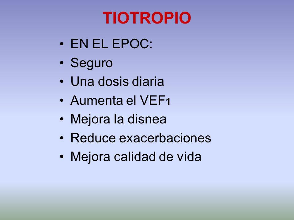 TIOTROPIO EN EL EPOC: Seguro Una dosis diaria Aumenta el VEF1