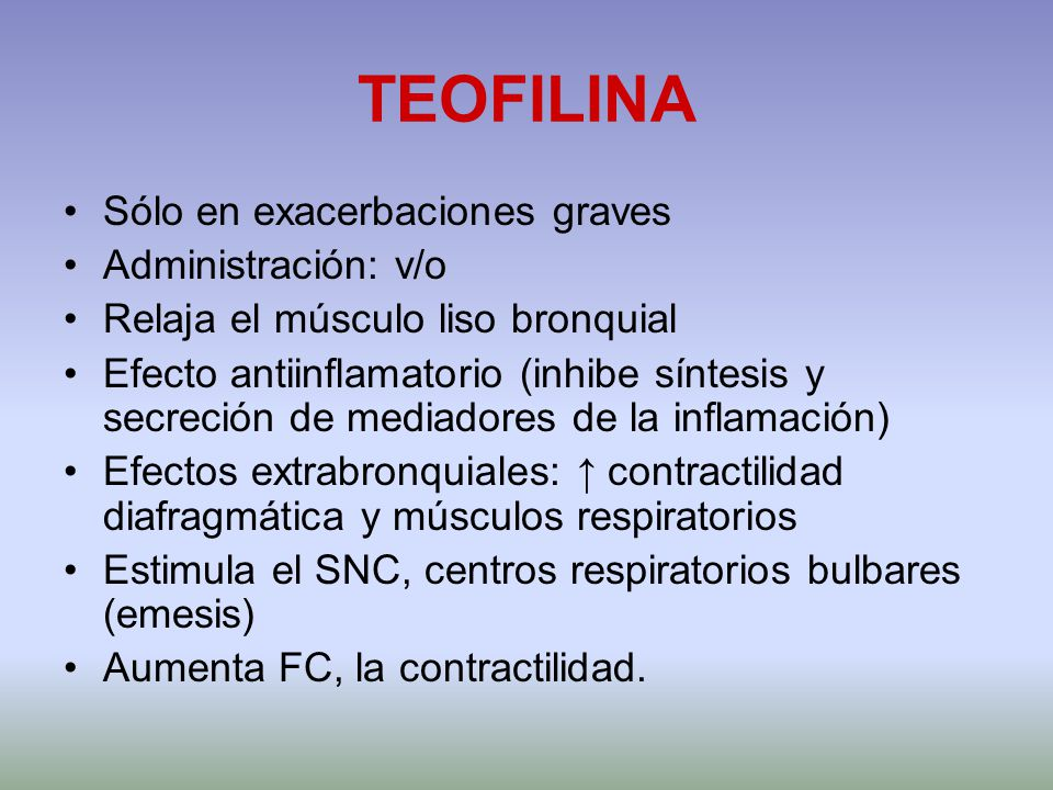 TEOFILINA Sólo en exacerbaciones graves Administración: v/o