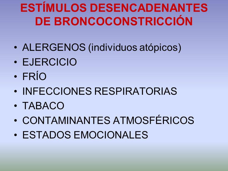 ESTÍMULOS DESENCADENANTES DE BRONCOCONSTRICCIÓN