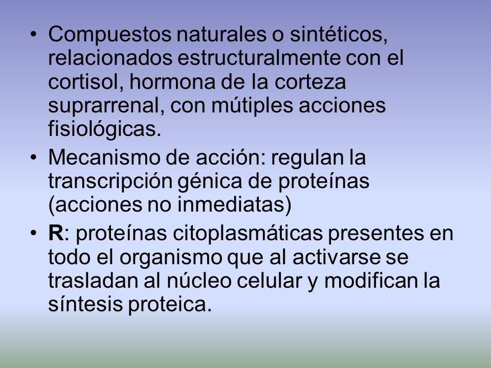 Compuestos naturales o sintéticos, relacionados estructuralmente con el cortisol, hormona de la corteza suprarrenal, con mútiples acciones fisiológicas.