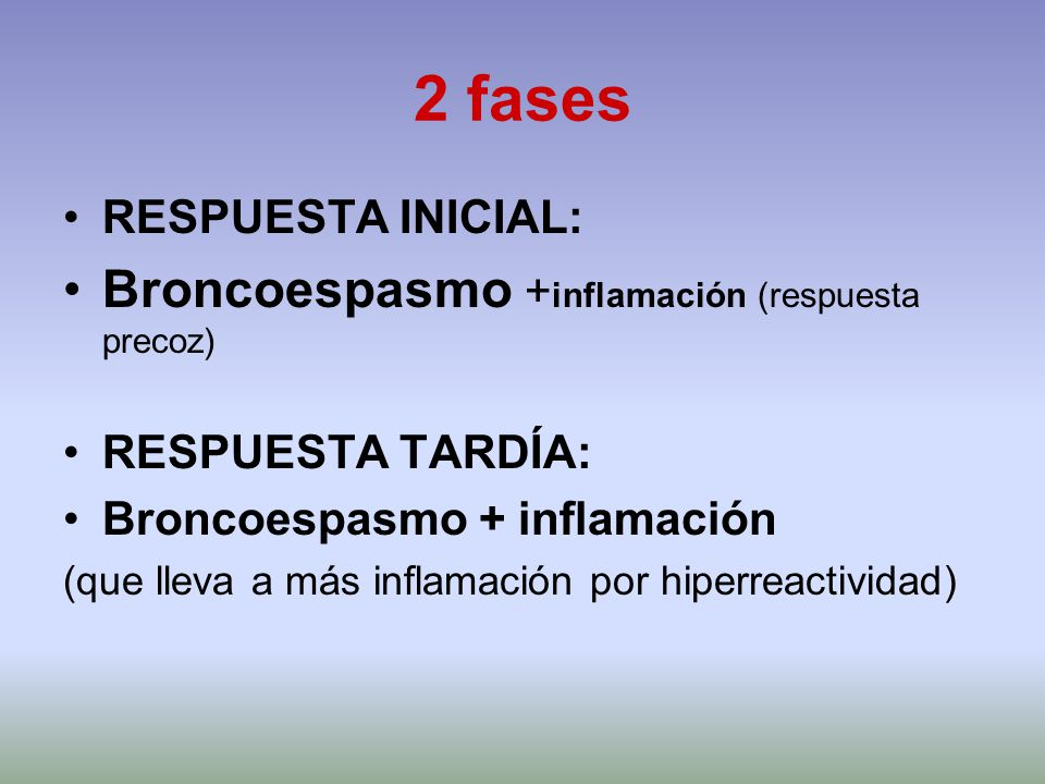 2 fases Broncoespasmo +inflamación (respuesta precoz)