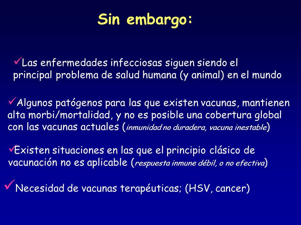 Sin embargo: Necesidad de vacunas terapéuticas; (HSV, cancer)