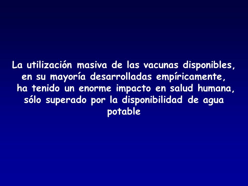 La utilización masiva de las vacunas disponibles, en su mayoría desarrolladas empíricamente, ha tenido un enorme impacto en salud humana, sólo superado por la disponibilidad de agua potable