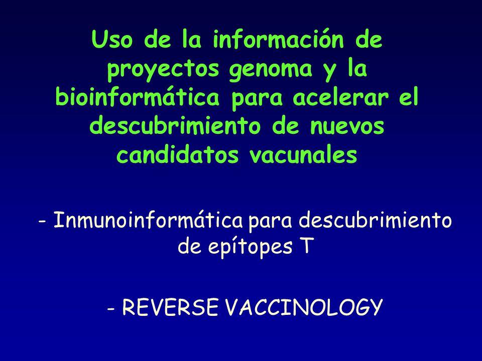 - Inmunoinformática para descubrimiento de epítopes T