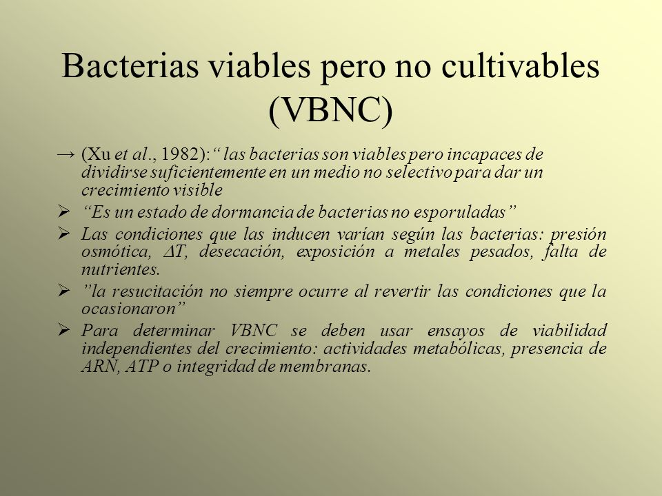 Bacterias viables pero no cultivables (VBNC)