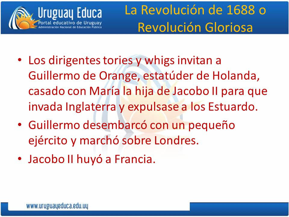 La Revolución de 1688 o Revolución Gloriosa