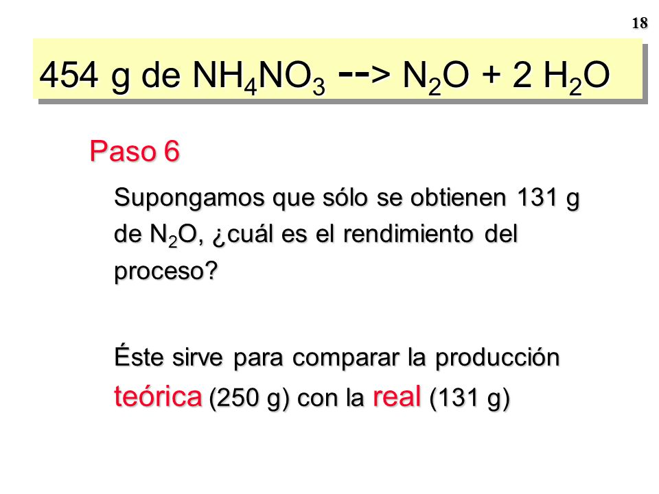 454 g de NH4NO3 --> N2O + 2 H2O Paso 6