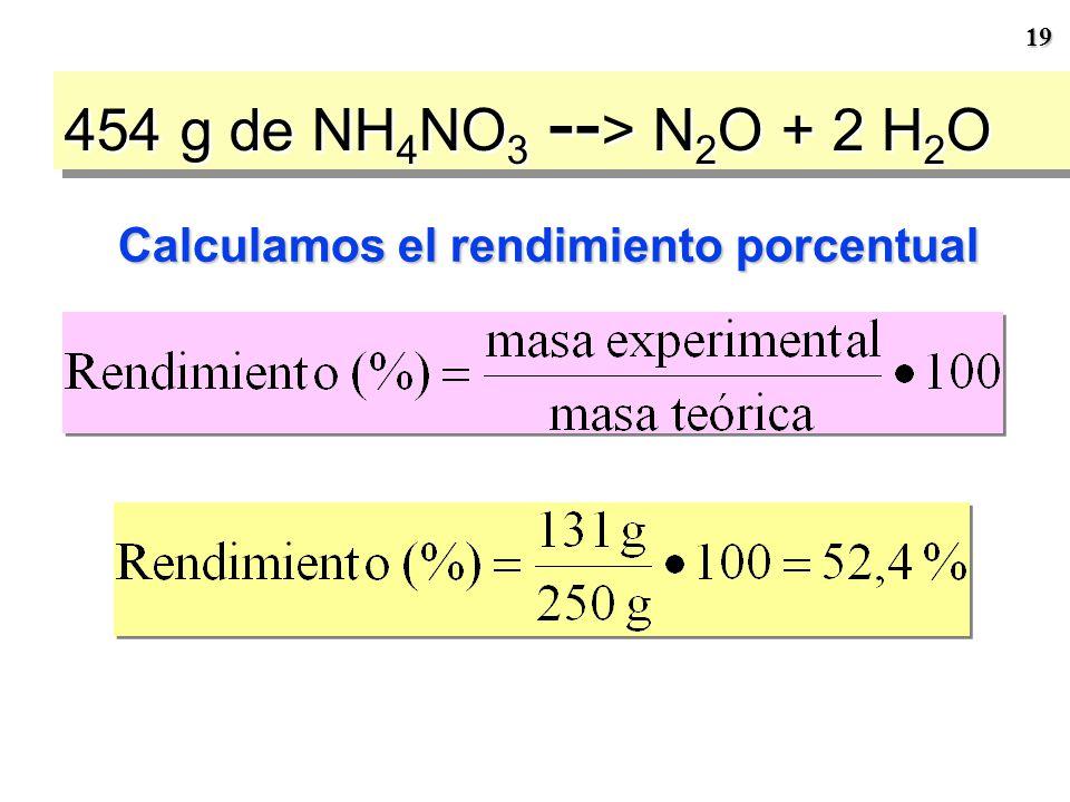 454 g de NH4NO3 --> N2O + 2 H2O Calculamos el rendimiento porcentual