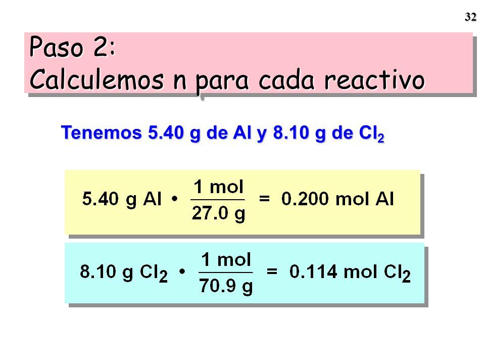 Paso 2: Calculemos n para cada reactivo