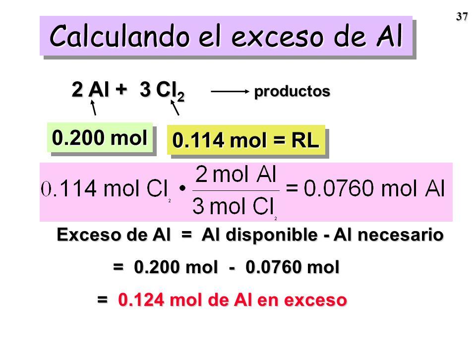 Calculando el exceso de Al