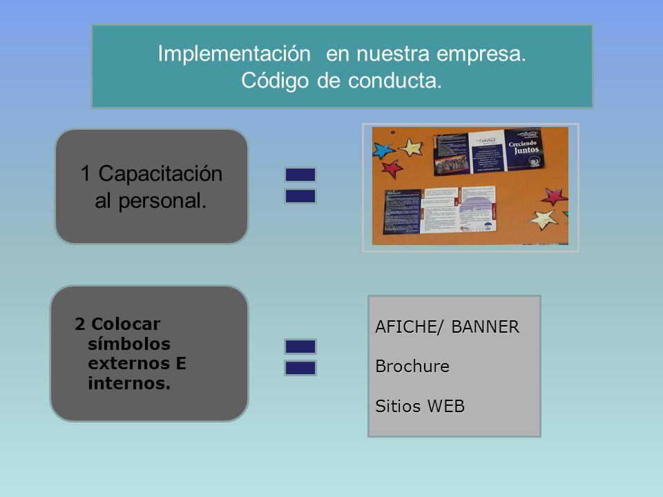 Implementación en nuestra empresa. Código de conducta.