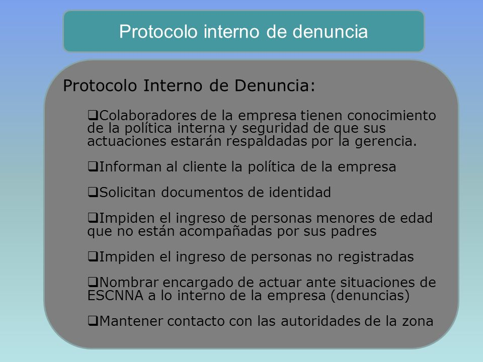 Protocolo interno de denuncia