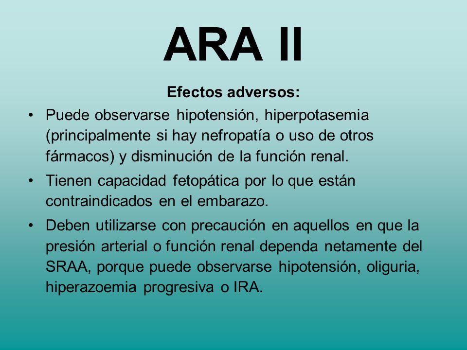 ARA II Efectos adversos:
