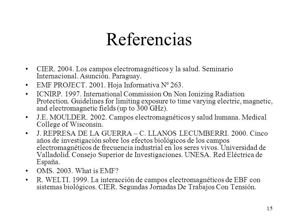 Referencias CIER. 2004. Los campos electromagnéticos y la salud. Seminario Internacional. Asunción. Paraguay.