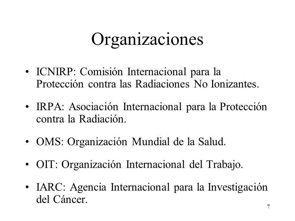 Organizaciones ICNIRP: Comisión Internacional para la Protección contra las Radiaciones No Ionizantes.