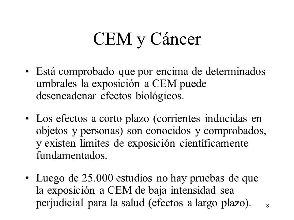 CEM y Cáncer Está comprobado que por encima de determinados umbrales la exposición a CEM puede desencadenar efectos biológicos.