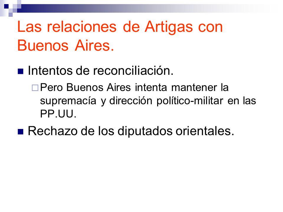 Las relaciones de Artigas con Buenos Aires.