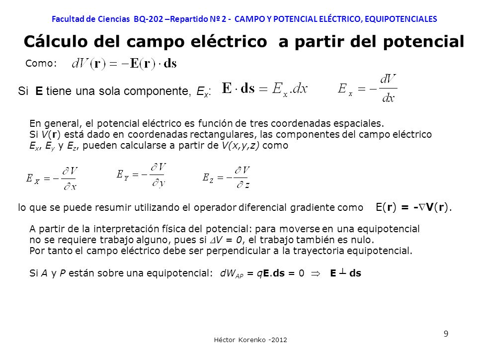 Cálculo del campo eléctrico a partir del potencial