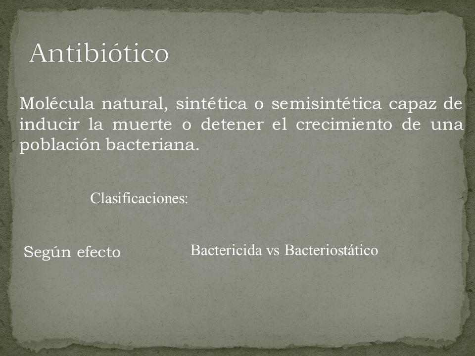 Antibiótico Molécula natural, sintética o semisintética capaz de inducir la muerte o detener el crecimiento de una población bacteriana.