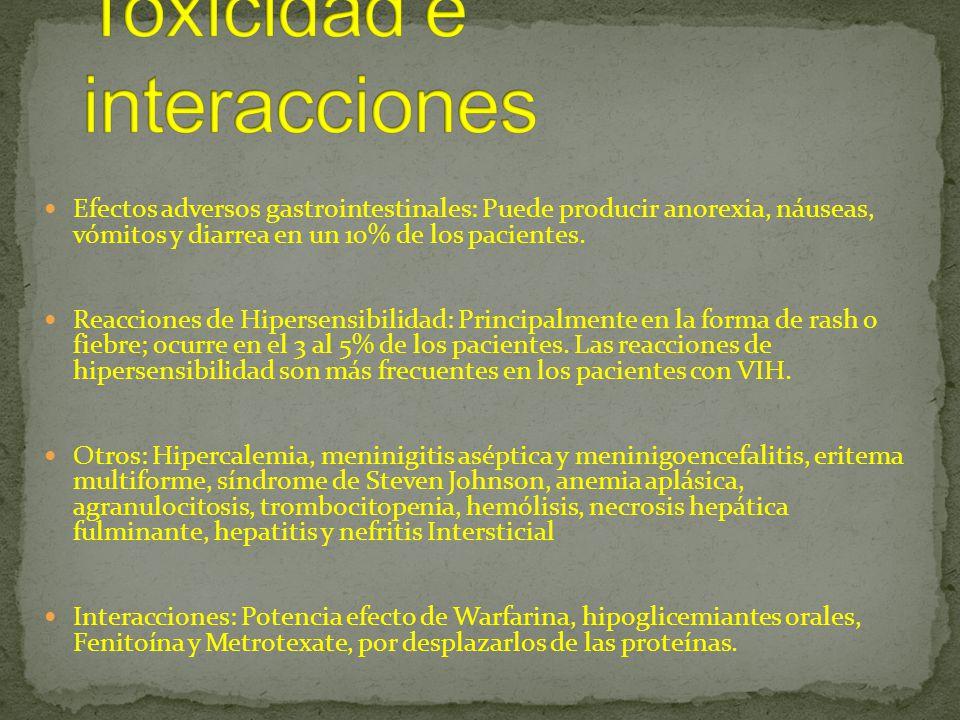 Toxicidad e interacciones