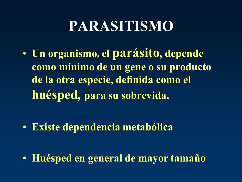 PARASITISMO Un organismo, el parásito, depende como mínimo de un gene o su producto de la otra especie, definida como el huésped, para su sobrevida.