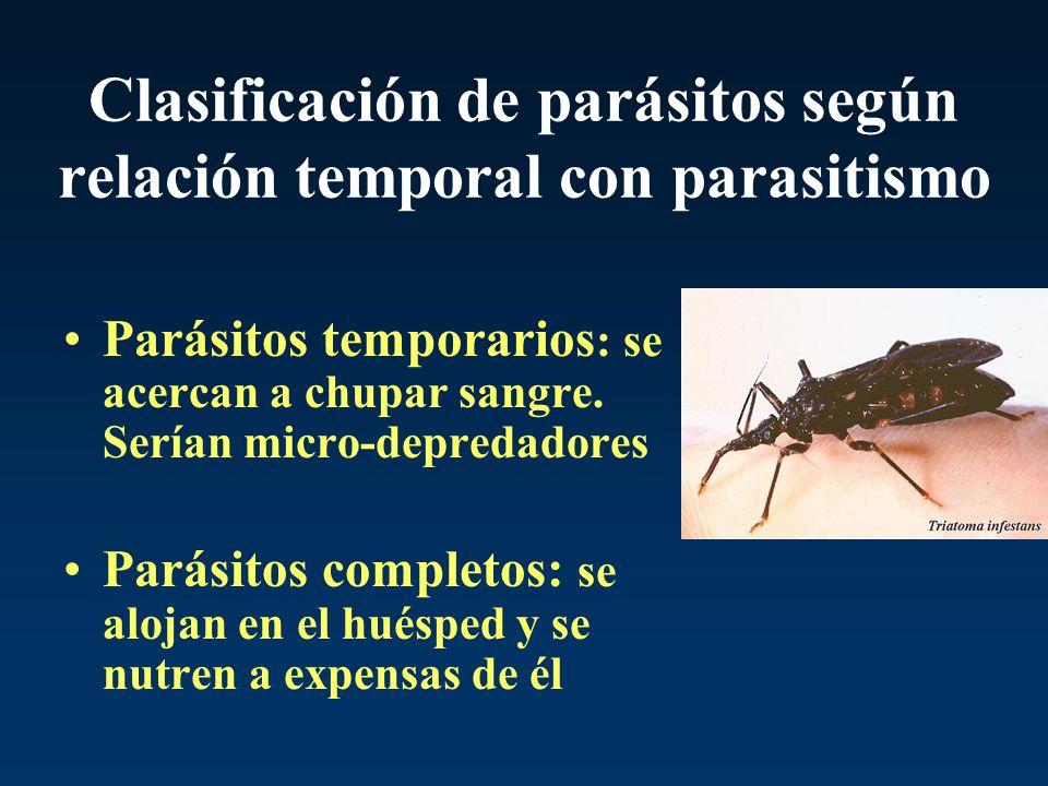 Clasificación de parásitos según relación temporal con parasitismo