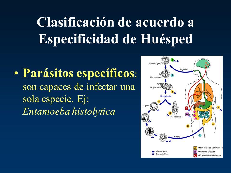 Clasificación de acuerdo a Especificidad de Huésped