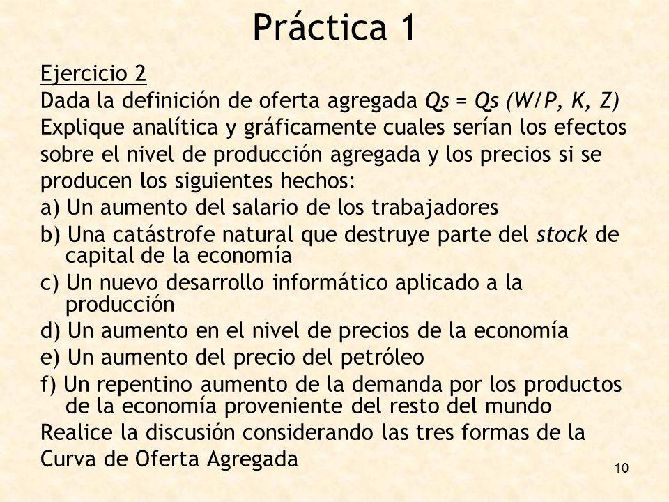 Práctica 1 Ejercicio 2. Dada la definición de oferta agregada Qs = Qs (W/P, K, Z) Explique analítica y gráficamente cuales serían los efectos.