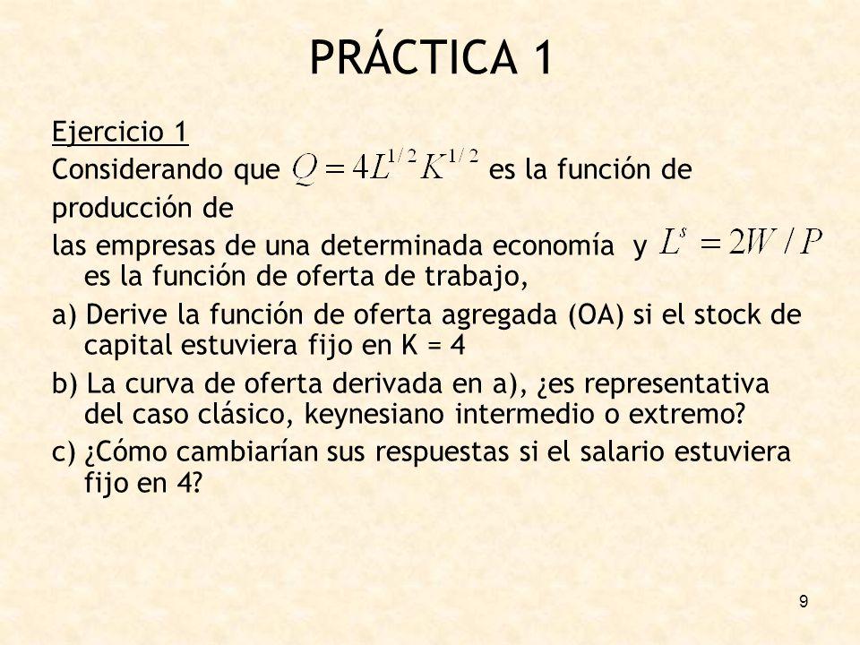 PRÁCTICA 1 Ejercicio 1 Considerando que es la función de producción de