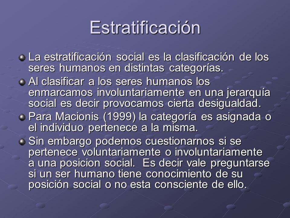 Estratificación La estratificación social es la clasificación de los seres humanos en distintas categorías.