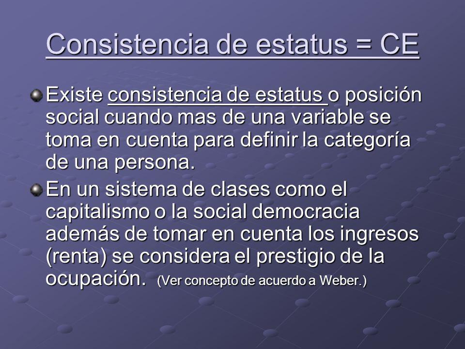 Consistencia de estatus = CE