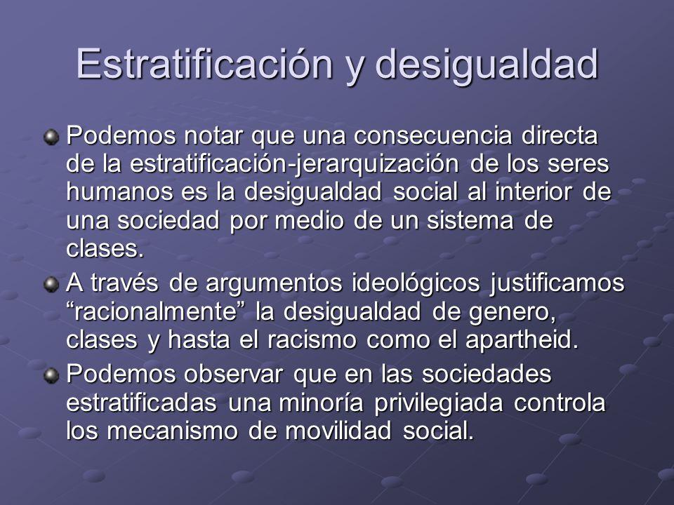 Estratificación y desigualdad