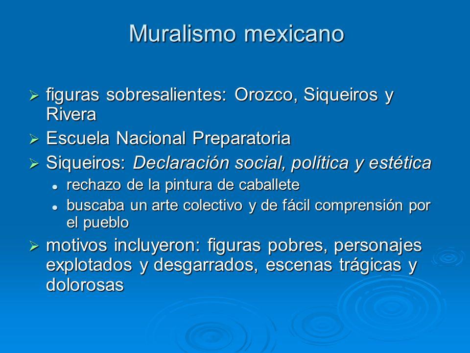 Muralismo mexicano figuras sobresalientes: Orozco, Siqueiros y Rivera