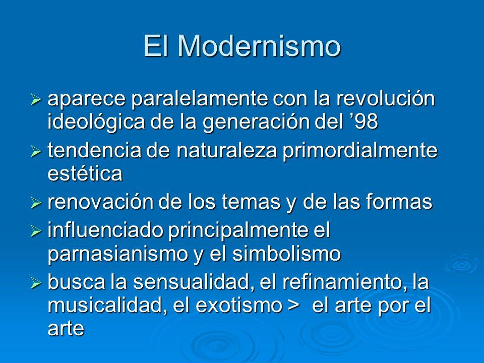 El Modernismo aparece paralelamente con la revolución ideológica de la generación del '98. tendencia de naturaleza primordialmente estética.