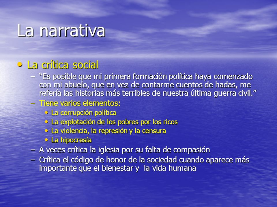 La narrativa La crítica social