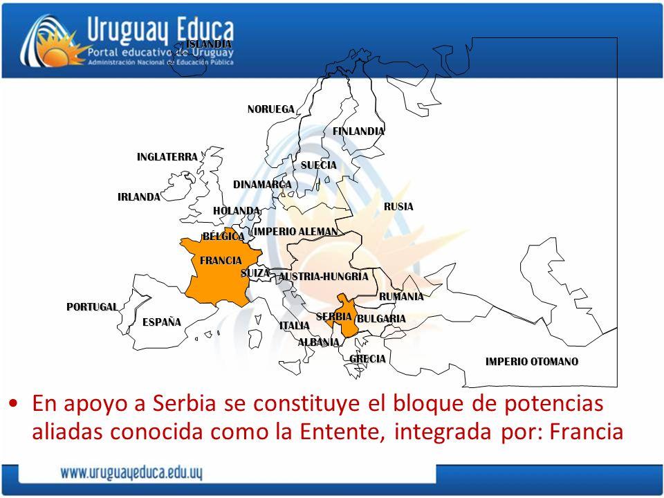 PORTUGAL IMPERIO ALEMAN. AUSTRIA-HUNGRÍA. RUSIA. INGLATERRA. FRANCIA. ESPAÑA. ITALIA. ISLANDIA.