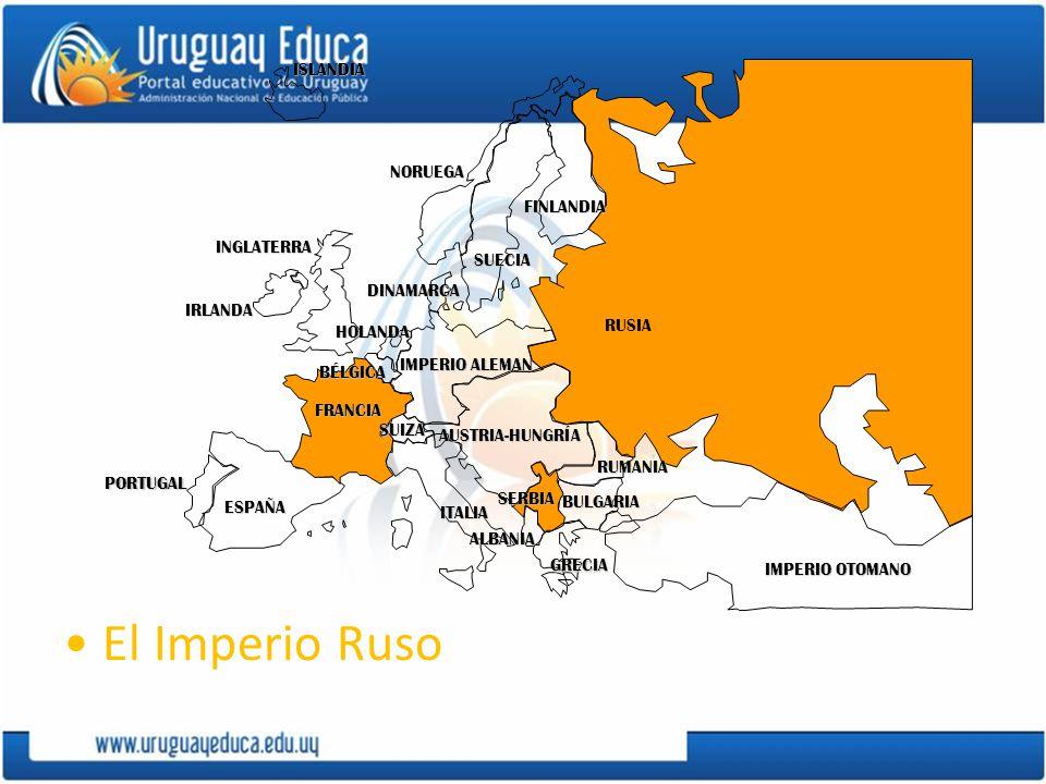 El Imperio Ruso ISLANDIA NORUEGA FINLANDIA INGLATERRA SUECIA DINAMARCA