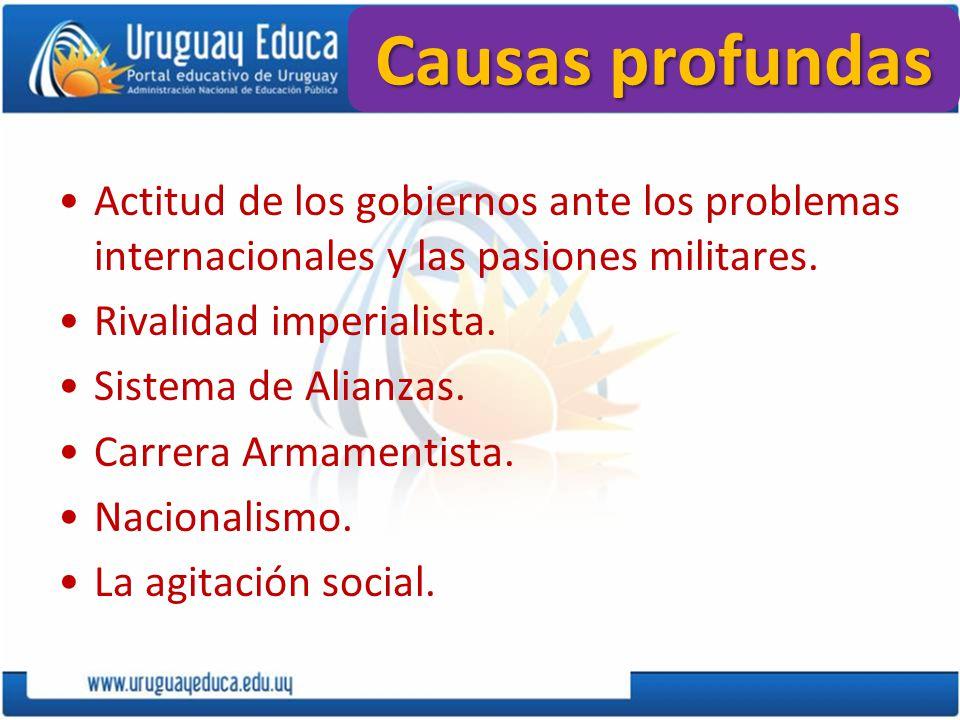 Causas profundas Actitud de los gobiernos ante los problemas internacionales y las pasiones militares.