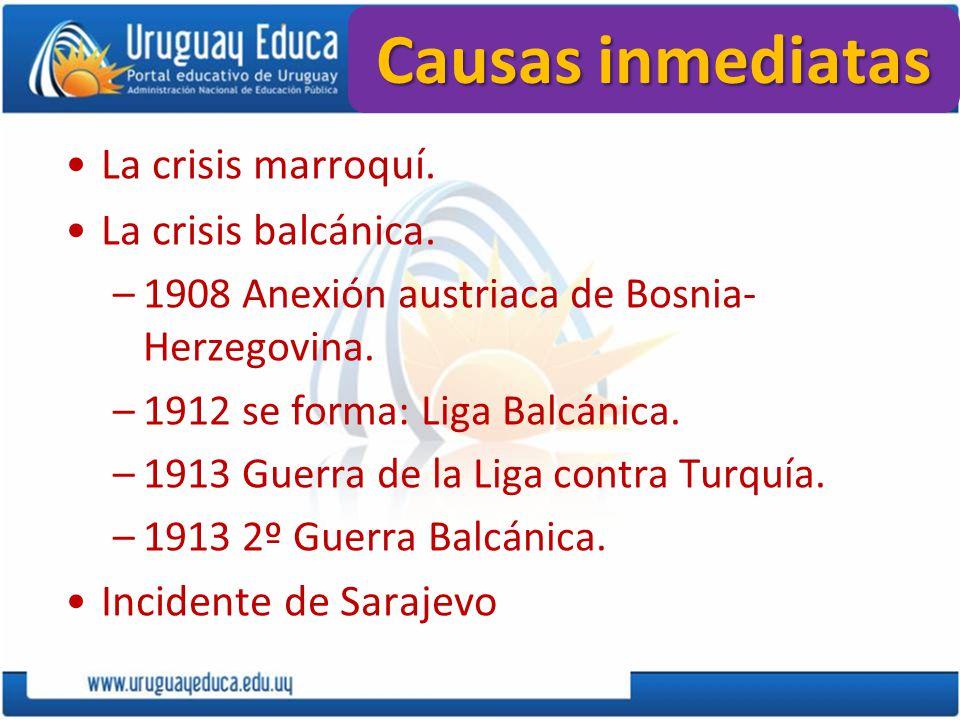 Causas inmediatas La crisis marroquí. La crisis balcánica.