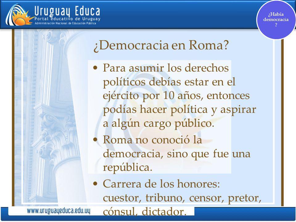 ¿Había democracia ¿Democracia en Roma