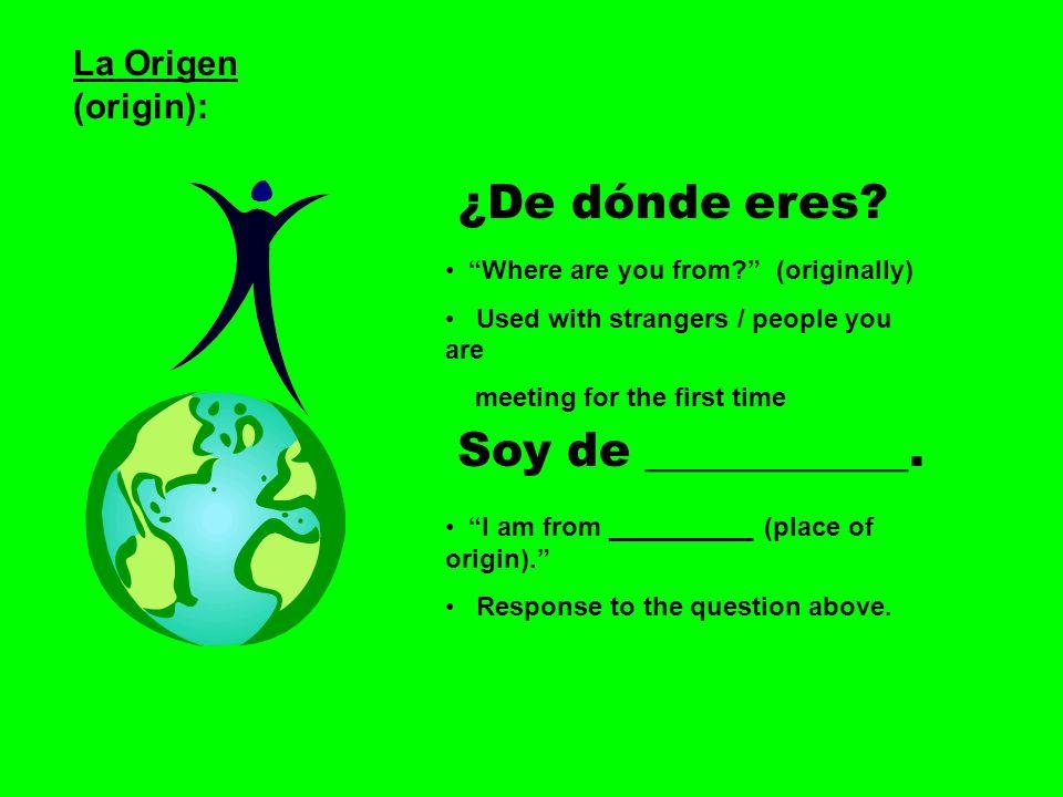 ¿De dónde eres Soy de ___________. La Origen (origin):