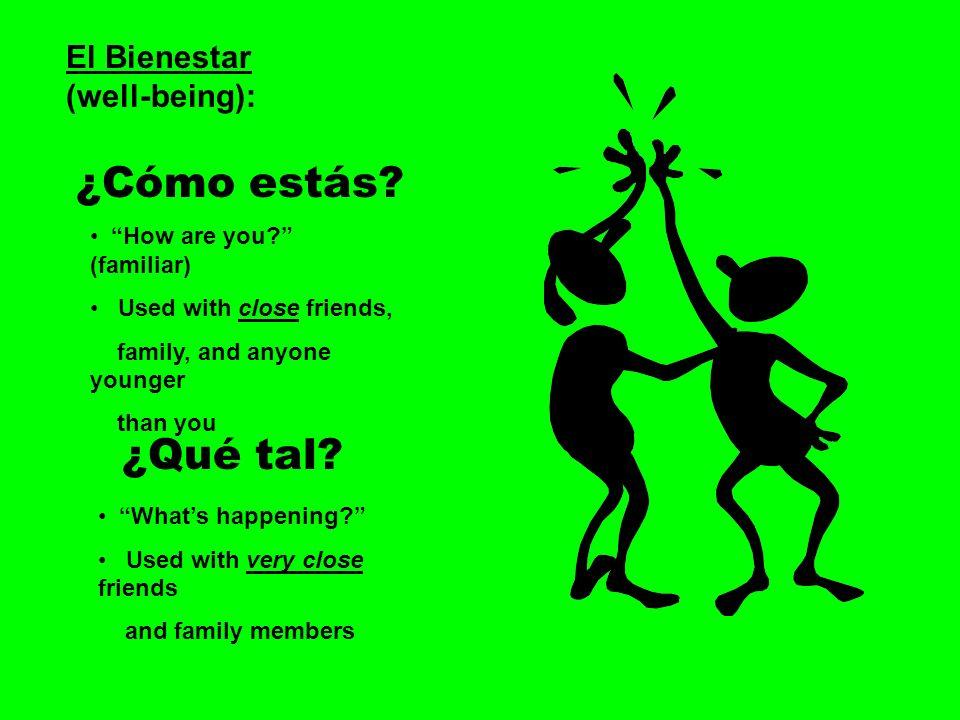¿Cómo estás ¿Qué tal El Bienestar (well-being):