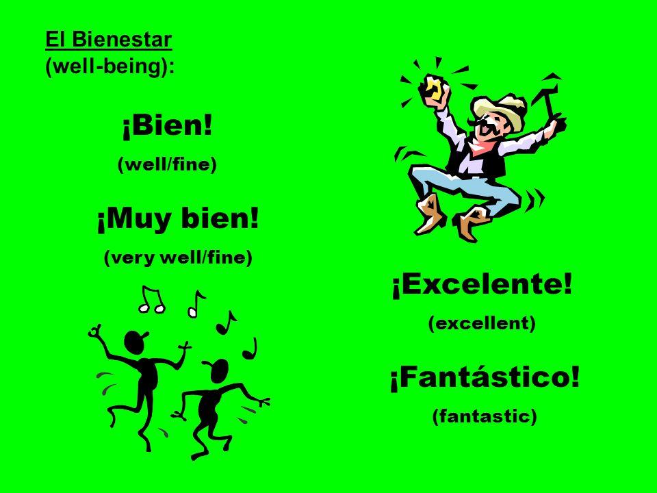 ¡Bien! ¡Muy bien! ¡Excelente! ¡Fantástico! El Bienestar (well-being):
